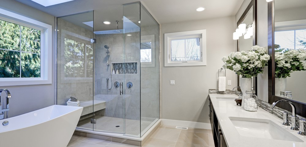 glass shower enclosure in bathroom